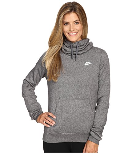 New Nike Women's Sportswear Funnel Neck Hoodie Charcoal Htr/Charcoal Htr/White Small