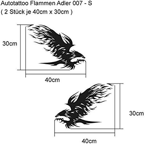 Auto Tattoo Flames Eagle 007 S Pack Of 2 1x Mirror 40 Cm X 30 Cm German Language Auto