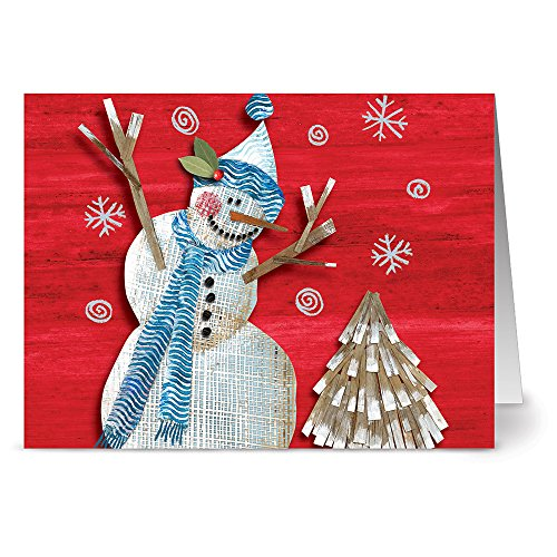 24 Holiday Note Cards - Joyful Snowman - Blank Cards - Red Envelopes Included - Snowman Note Card