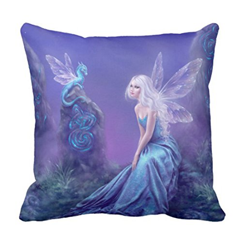 TORASS Throw Pillow Cover Colorful Fantasy Blue Purple Fairy Dragon Wings Decorative Pillow Case Home Decor Square 16 x 16 Inch - Wings Fantasy Dragon Purple