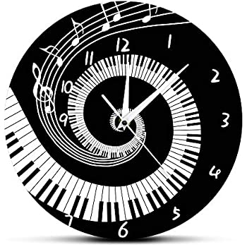 The Geeky Days Elegant Piano Keys Black and White Modern Wall Clock Music Notes Wave Round Pianist Gift