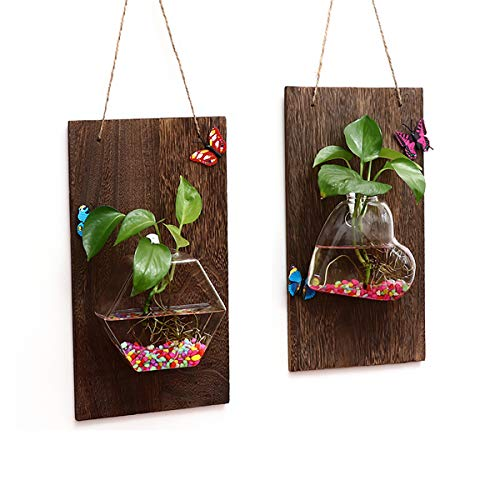 (Ivolador Wall Glass Hanging Planter with Wooden Board for Wall Background Decoration ((Wood + Love Shape vase) +(Wood + Hexagonal vase)) )