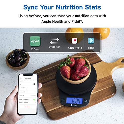 Etekcity 0.1g Smart Nutrition Food Scale, Digital Kitchen Grams and Ounces for Weight Loss, Baking, Cooking, Meal Prep & Keto Diet, Medium, Black