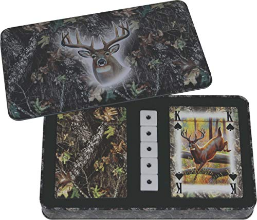 River's Edge Products Mossy Oak Deer Cards & Dice Tin