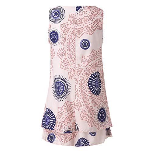 Donna Senza Irregolare Forti Women Dragon868 Orlare Taglie Multicolor Rosa 5xl Tank Estate Loose Spiaggia Mini Stampa Midi Print Sundress Size Maniche Plus Vestito Beachwear Dress Brasiliana BexCdo