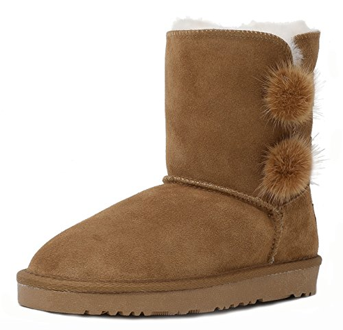 DREAM PAIRS Little Kid Shorty-Pompom Chesnut Sheepskin Fur Winter Snow Boots Size 11 M US Little Kid for $<!--$26.99-->