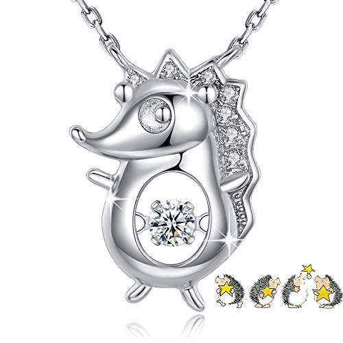 925 Sterling Silver Necklace for Women Animal Hedgehog Pendant Dancing Heart Jewelry Fashion Accessories Birthday Anniversary Mother Daughter Festive Present with Gift Box - GUN06 Silver