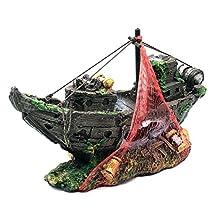 Bluestar Resin Pirate Ship For Home Aquarium Ornament/Sunk Boat Destroyer Fish Tank Decoration