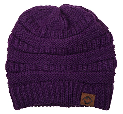 F1-6020a.40 Solid Color Beanie- Dark (Funky Knit Beanie Hat)