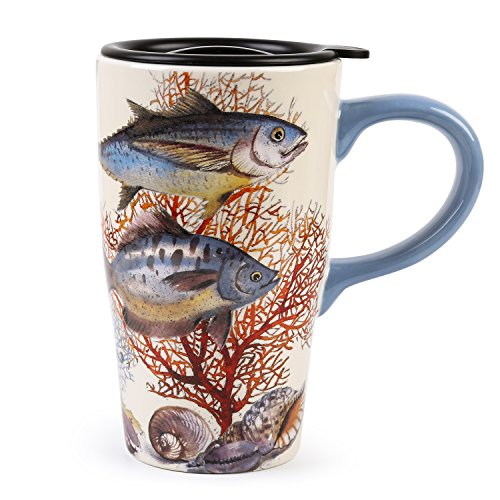 - Minigift Ceramic Ocean Cup Travel Coffee Mug 16oz (4 Designs for choice-Fish)