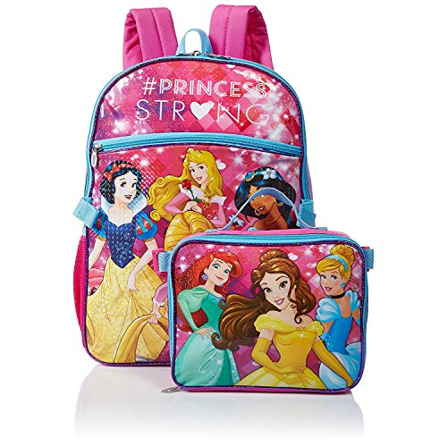 Disney Girls' Princess Backpack with Lunch, Pink (Princess Kids Backpack)