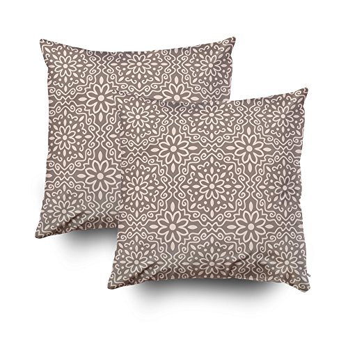 ROOLAYS Decorative Throw Square Pillow Case Cover 20X20Inch,Cotton Cushion Covers Islamic pattern Arabic indian japanese Both Sides Printing Invisible Zipper Home Sofa Decor Sets 2 PCS Pillowcase by ROOLAYS