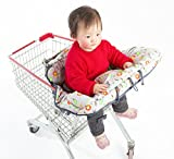 2-in-1 Shopping Cart Cover for Baby/Toddler with Free Baby Infant Training Toothbrush - High Chair Cover - Germ Protection Material - Unisex Design - Machine Washable - Compact Carry Bag Folding