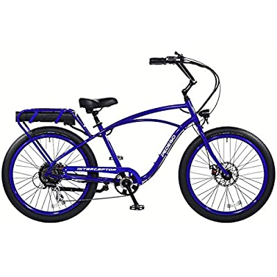 """Pedego Interceptor 26"""" Classic Neon Blue with Black Balloon Package 48V 15Ah"""