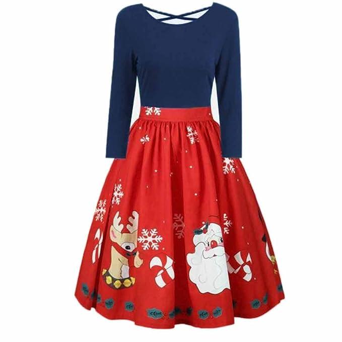 Lenfesh_Vestidos de Mujer,Feliz Navidad Vintage Manga Larga Vestido Impresión navideña Vestido de Fiesta Talla