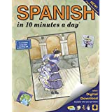 SPANISH in 10 minutes a day®: Language course for beginning and advanced study.  Includes Workbook, Flash Cards, Sticky Labels, Menu Guide, Software, ... Grammar.  Bilingual Books, Inc. (Publisher)