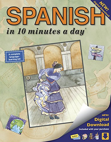 SPANISH in 10 minutes a day: Language course for beginning and advanced study.  Includes Workbook, Flash Cards, Sticky L