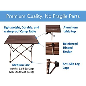 Trekology Portable Camping Tables with Aluminum Table Top, Hard-Topped Folding Table in a Bag for Picnic, Camp, Beach, Boat, Useful for Dining & Cooking with Burner, Easy to Clean