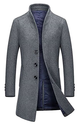 Papijam Mens Casual Jacket Single-Breasted Slim Woolen Overcoat Peacoat Gray XL by Papijam