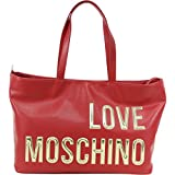 Love Moschino Women's Raised Letter Logo Red Pebbled Tote Handbag