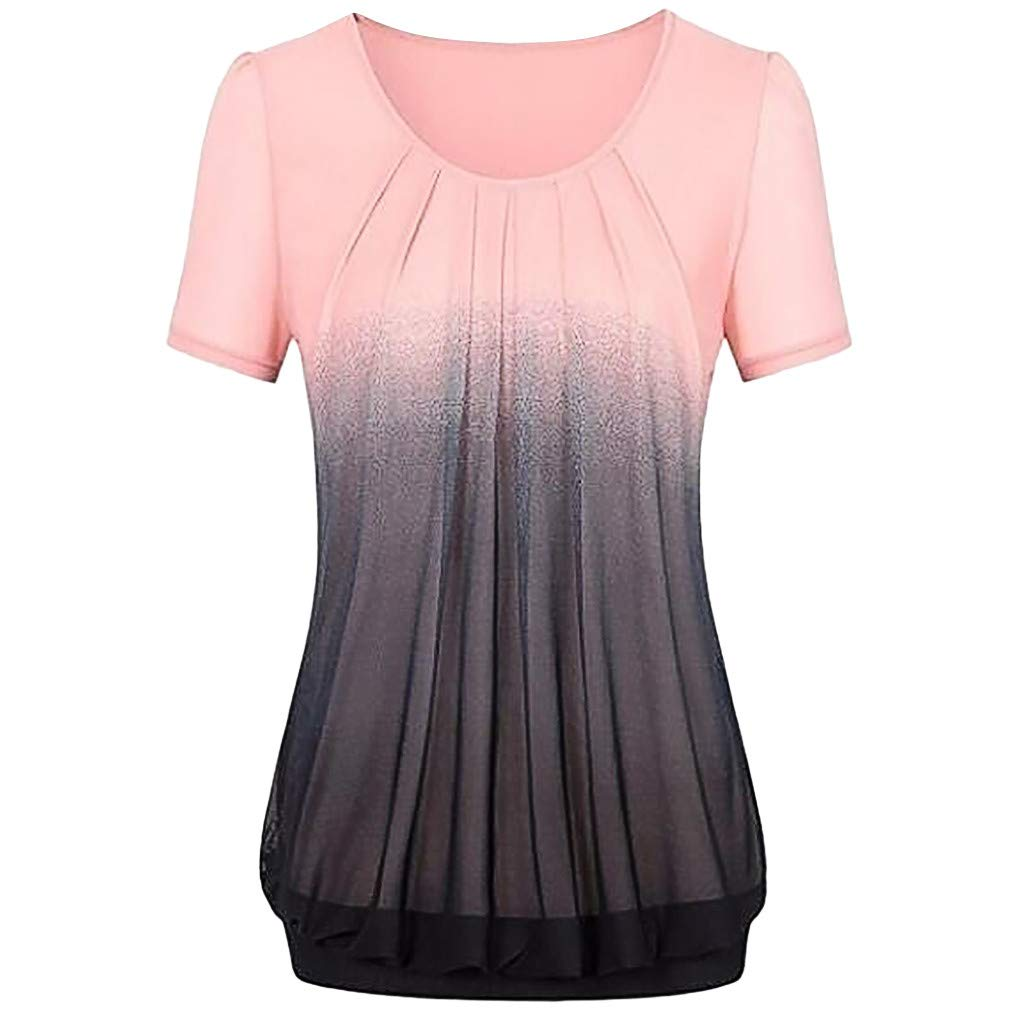 SERYU Women Casual Gradient Printed Pleated Plus Size Tribal T-Shirt Tops Blouse Pink