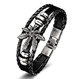 GUAngqi Leather Bracelet For Men Vintage Leather Wrap Bangle Cannabis Marijuana Leaf Weed Charm Bracelets Bangle,black