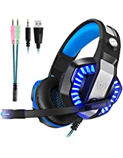 Gaming Headset with Mic for PS4, Xbox One, PC, Nintendo Switch - Surround Sound, Over-Ear Noise Reduction Headphone 3.5mm Bass Stereo Volume Control LED Light For PC Gamers (Splitter Adapter include)