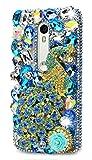 STENES Motorola Moto Droid Turbo 2 Case, Luxurious Crystal 3D Handmade Sparkle Diamond Rhinestone Clear Cover with Retro Bowknot Anti Dust Plug - Pretty Peacock Rose Flowers/Blue