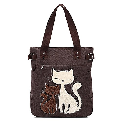 handbag R cat TOOGOO small with canvas Dark cute shoulder Women's shopping Coffee bag handbag Women's bag messenger qXXCEf