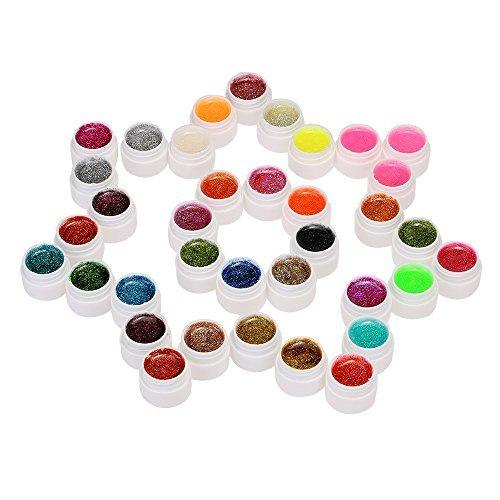 Anself 36 Couleur Nail Art Pigment à Ongle Set UV Gel Colle Solide