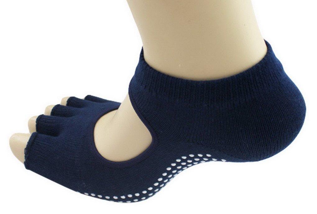 5-Toe Exercise Yoga Gym Non Slip Massage Toe Socks With Full Grip Black Acme