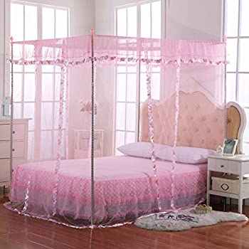 Luxury Mosquito Net Bed Canopy by JQWUPUP - 4 Corner Poster Princess Lace Netting Bedding For Girls Toddlers u0026 Adults - Bedroom Decor Block Insects (Twin ... & Amazon.com: Mosquito Net Bed Canopy-Lace Luxury 4 Corner Square ...