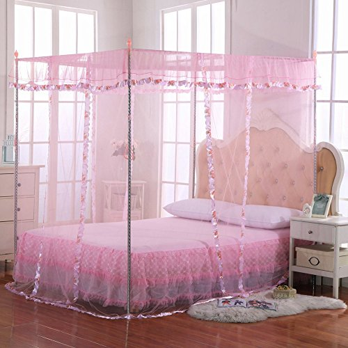Luxury Mosquito Net Bed Canopy by JQWUPUP - 4 Corner Poster Princess Lace Netting Bedding For Girls, Toddlers & Adults - Bedroom Decor Block Insects (Twin Size, Pink)