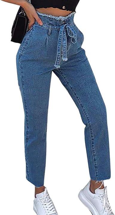 Women Elastic Waist Casual Denim Pants Ladies Slim Fit Jegging Striped Trouser