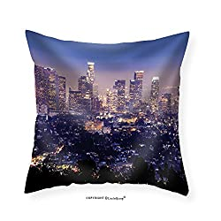 VROSELV Custom Cotton Linen Pillowcase The City of Los Angeles All Lit Up at Night - Fabric Home Decor 22x22