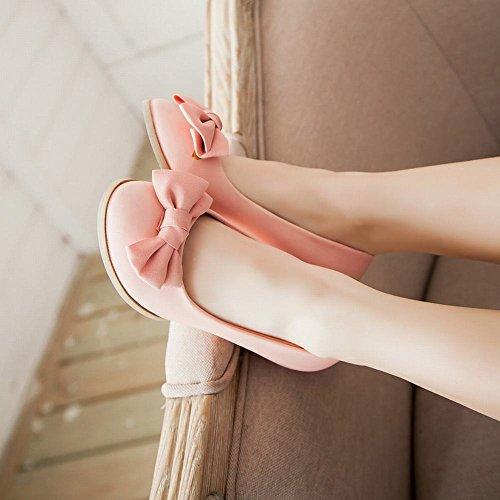 Show Shine Womens Sweet Bow Casual Lage Sleehak Instappers Schoenen Roze