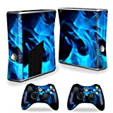 xbox 360 slim skins for console - Mightyskins Protective Vinyl Skin Decal Cover for Microsoft Xbox 360 S Slim + 2 Controller skins wrap sticker skins Blue Flames
