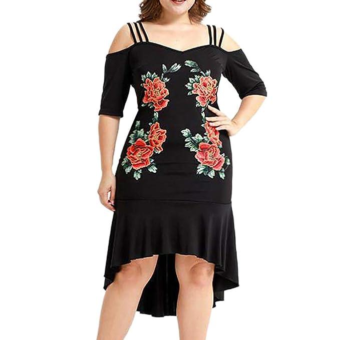 12fbe15bf Vestidos Mujer Verano Elegante de Mini Vestir Corta Mangas de para Playa  Fiesta,Talla Extra