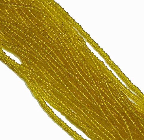 - Yellow Transparent Czech 6/0 Seed Bead on Loose Strung 6 String Hank Approx 900 Beads