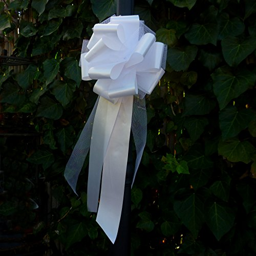 White Tulle Wedding Pew Pull Bows - 9'' Wide, Set of 6 by GiftWrap Etc.