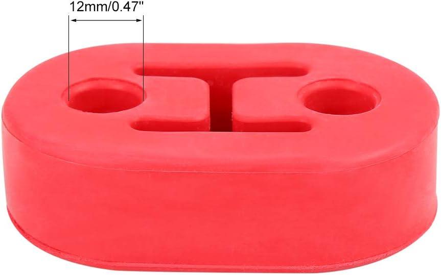 X AUTOHAUX 4pcs 2 Holes 12mm Dia Car Exhaust Hanger Bushing Muffler EPDM Rubber Insulator Mount Bracket Red Universal Fit