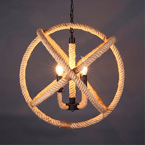 Industrial Pendant Light Retro nostalgic boutiques Iron four head hemp chandeliers, diameter 43 chain length 50cm -