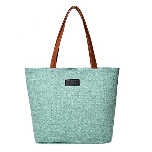 Shoulder Packet Canvas Capacity Travel Shopping Totes Zipper Green Solid Purses Bags Casual Women Large Single gw5xAqFFZ