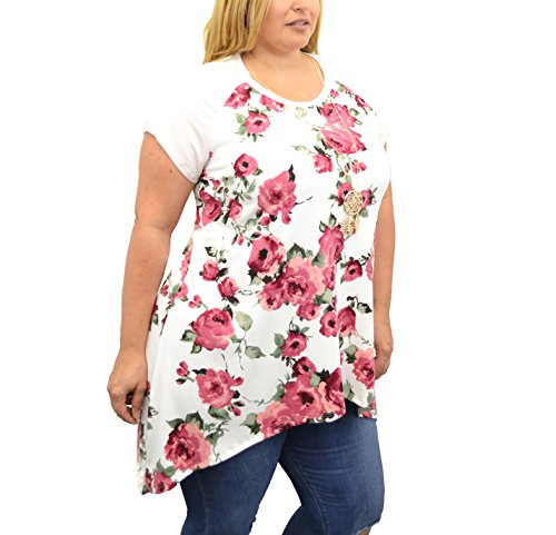 Urban Rose Floral Blouses For Women, Plus-Size Clothing, Flowy, Long-Hem (Spring Flowers Clothing)