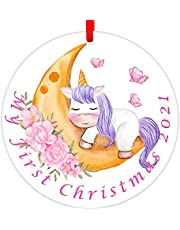 """SICOHOME Baby's First Christmas Ornament 2021,3"""" My Very First Christmas Ornament,Unicorn Baby Christmas Ornament for for New Born Baby,Parents and Grandparents"""