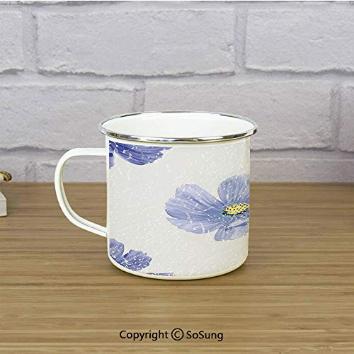 Garden Decor Enamel Camping Mug Travel Cup,Artistic Watercolor Violets Botanical Romantic Tender Seasonal Field Pattern,11 oz Practical Cup for Kitchen, Campfire, Home, TravelMulticolor