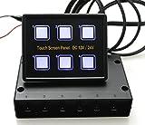 Ambuker 12V/24V 6 Gang Blue LED Capacitive Sense Touch Control Panel Box and 15-Pin VGA Cable for Car Truck Caravan Boat Yacht Marine