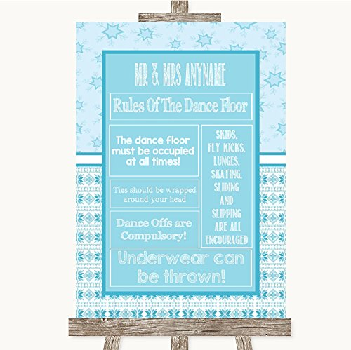 Winter Blue Rules Of The Dance Floor Personalized Wedding Sign
