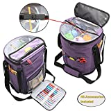 (US) Teamoy Knitting Tote Bag, Yarn Storage Organizer with Inner Dividers for Yarn, Unfinished Projects, Crochet Hooks, Knitting Needles and Other Supplies, High Capacity, Well Designed, Purple