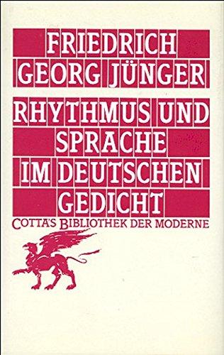 Amazoncom Rhythmus Und Sprache Im Deutschen Gedicht
